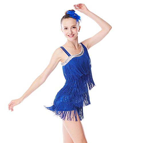 MiDee Dance Costume Fingure Skating Dress Sequins Leotard with 4-Tires Tassle Dress for Girls (LC, Royal Blue) ()