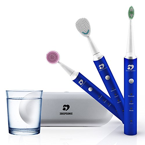 Whitening Rechargeable Toothbrush (Wonyered 3-In-1 Electric Smart Toothbrush Whitening Rechargeable Electric Toothbrush Facial Cleaning Brush with 3 Replacement Heads Smart Timer USB Charging Aluminium Alloy Whole Ipx7 Waterproof Blue)