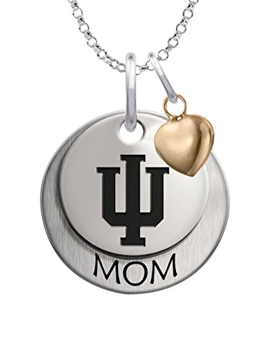 Indiana University Hoosiers IU Sterling Silver Stacked MOM Charm Necklace with Heart Accent