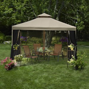GAZEBO LAKETON PATIO LAWN GARDEN OUTDOOR FURNITURE TAN 10' X 10'