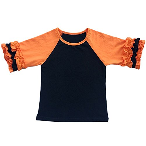 (Toddler Girls Icing Ruffle Shirts Kids Raglan T Shirts Baseball 3/4 Sleeves Baby Cotton Tee Tops Little Big Sisters Family Matching Crew Neck T-Shirt Birthday Casual School Clothes Black + Orange)
