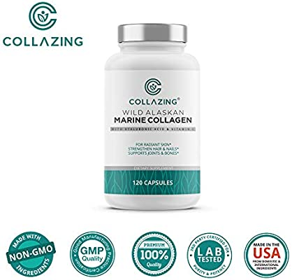 Collazing - Alaskan Wild-Caught Marine Collagen Protein Peptides with Hyaluronic Acid and Vitamin C - for Radiant Skin, Hair, Nails. Joints, Bones - 120 Capsules-30 Days Supply