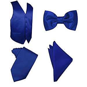 Men's 4pc Solid Formal Tuxedo Dress Vest Necktie Bowtie Handkerchief Set