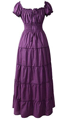 ReminisceBoutique Renaissance Dress Costume Pirate Peasant Wench Medieval Boho Chemise (XL, Purple) -