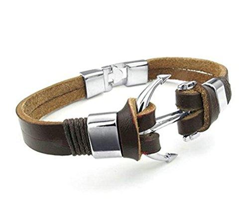 Aooaz Mens Bracelet Feather Bracelet, Brown Bracelet Punk Vintage Retro Boys Bridegrooms Wedding - Cors Michael