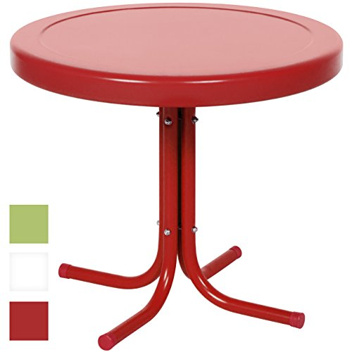 (Best Choice Products 22in Modern Round Metal Side Table w/UV and Weather Resistant Finish - Red )