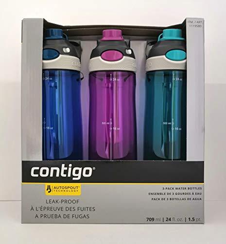 Contigo AUTOSPOUT® Chug Leak-Proof Water Bottles 24oz, 3 Pack (Blue, Purple, Turquoise)