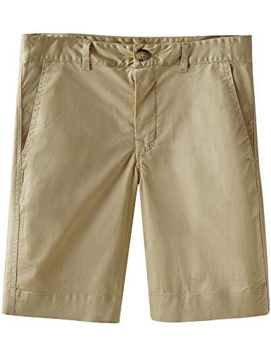 (Spring&Gege Boys' Cotton Twill Flat Front Uniform Stretch Chino Shorts, Khaki, 5-6 Years)