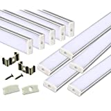 Muzata 10 Pack 1M/3.3ft Aluminum LED Channel for LED Strip Lights, Easy to Cut, U-Shape Aluminum Profile with All Accessories for Easy Installation