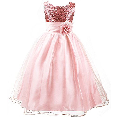 Acecharming Little Girls' Sequin Mesh Flower Ball Gown Party Wedding Tulle Ruffle Dress, Suitable for4-5 Years( Pink)
