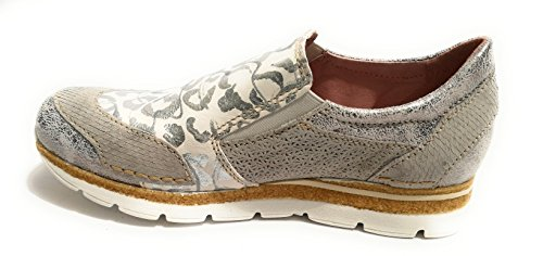 Flower Donna on camoscio Stampa Slip Pelle Scarpe Sneaker Silver crack Ds18cc04 Clocharme ZWq646
