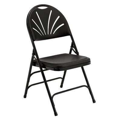 National Public Seating 1100 Series Steel Frame Polyfold Fan Back Double Hinge Folding Chair with Triple Brace, 480 lbs Capacity, Black (Carton of 4)