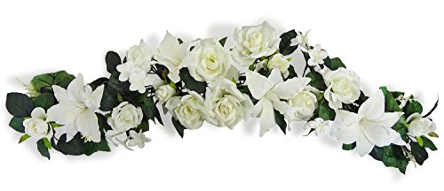35'' Cream Rose / Lily Swag by V-Max Floral Decor