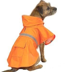 Guardian Gear Vinyl Dog Rain Jacket with Reflective Strip, Medium, Orange