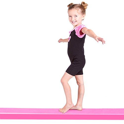 REEHUT 9 Folding Floor Balance Beam Low Profile Gymnastics Skill Performance Training (Pink)