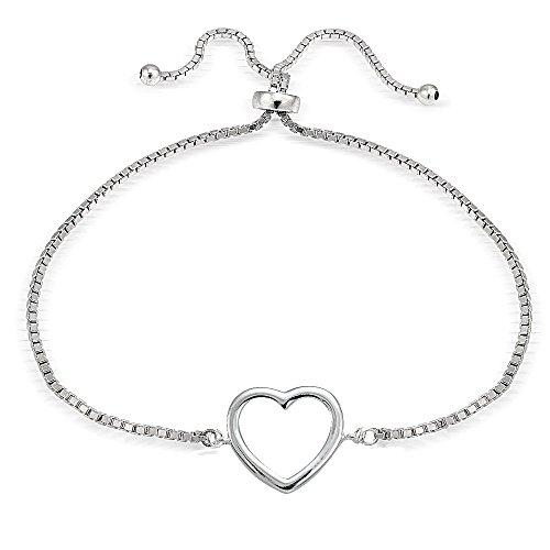 Hoops & Loops Sterling Silver Open Heart Polished Adjustable Pull String Bracelet ()