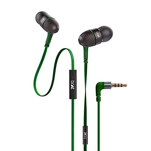 boAt BassHeads 228 Extra Bass with Pouch in Ear Wired Earphones with Mic (Forest Green)
