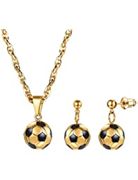 3D Soccer Football Charm Necklace and Earrings Set,Stainless Steel Gold Plated Women Jewelry