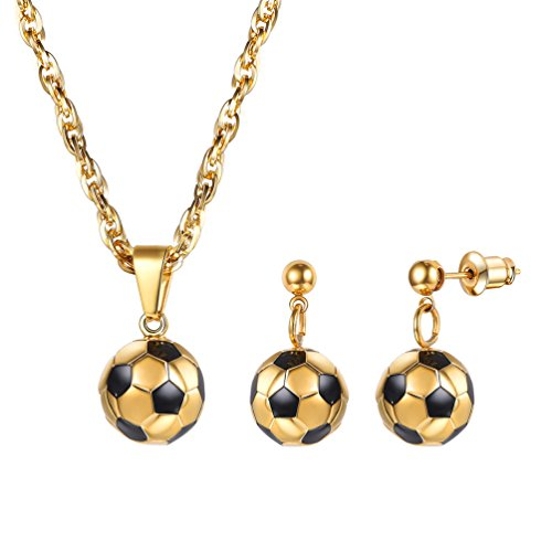 PROSTEEL Gold Soccer Ball Football Charm Pendant Necklace Drop Earrings Set Gift Stainless Steel 18K Plated Sport Girl Women 3D Jewelry Set - Gold 3d Football Charm