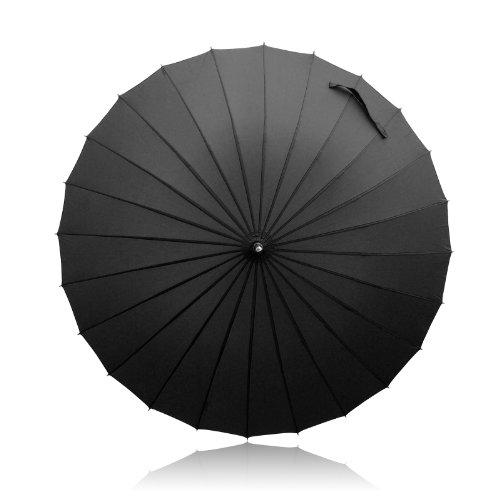 Becko winddichte Regenschirm, manuell eröffene und geschlossene,lang Stockschirm /Golfschirm/Partnerschirm mit 24 Faserstützen,Unisex(Schwarz)