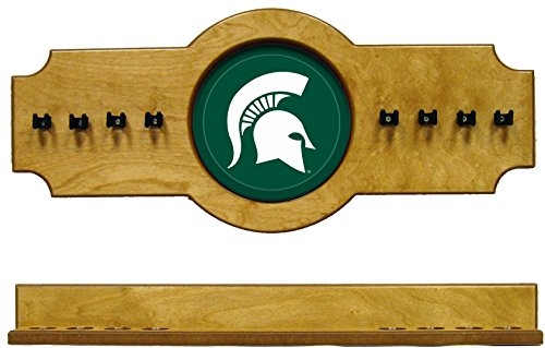 NCAA Michigan State Spartans MSUCRR200-O 2 pc Hanging Wall Pool Cue Stick Holder Rack - Oak
