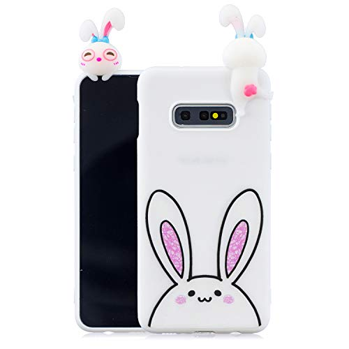 (Yobby Case for Samsung Galaxy S10+/S10 Plus,White Silicone 3D Cartoon Animals Pattern Phone Case,Teen Girls Kids Cute Kawaii Bunny Case,Soft Flexible Rubber Gel Anti-Scratch Cover)