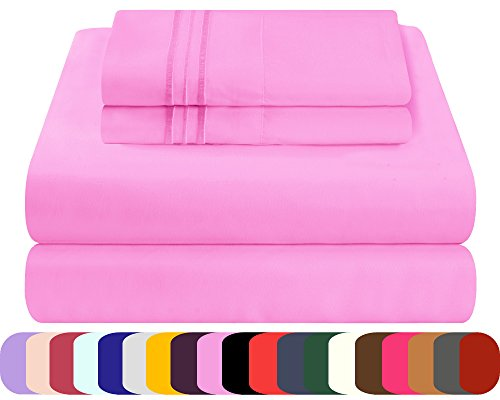 Mezzati Luxury Bed Sheets Set - Sale - Best, Softest, Coziest Sheets Ever! 1800 Prestige Collection Brushed Microfiber Bedding (Pink, Full) (Bedding Set Sales)