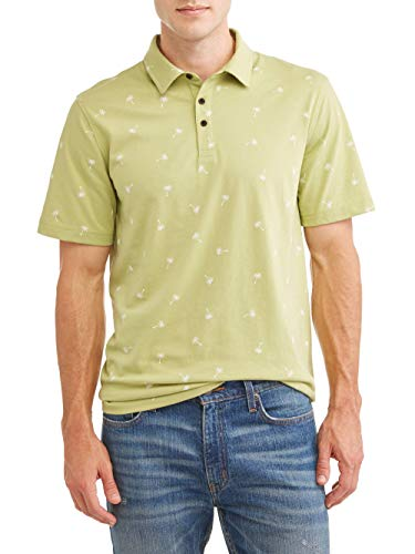 George Men's Print Jersey Polo Shirt (Small 34/36, Honeydew Palm) ()