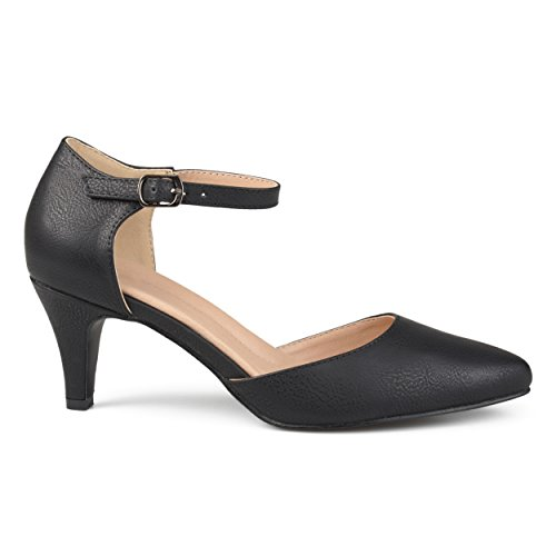 Black D'orsay Almond Co Heels Comfort Ankle Brinley Leather Faux Strap Womens Toe Sole YUT7qBzW