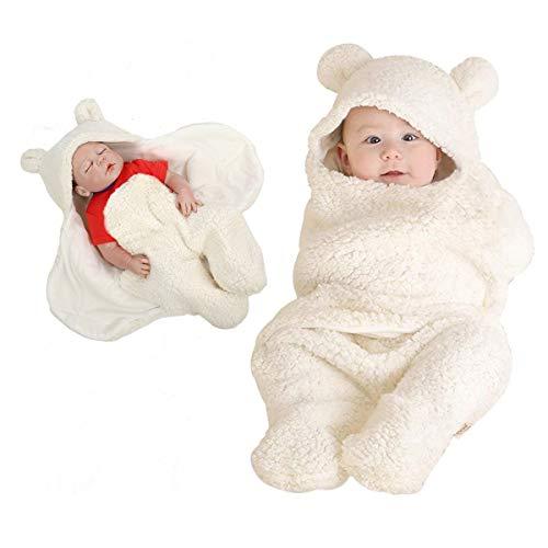 BB Hapeayou Mantas lindas para bebés recién nacidos Mantas de swaddle de felpa para bebés de 0-6 meses, bebés, niños y niñas (leche blanca): Amazon.es: Bebé