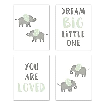Sweet Jojo Designs Mint and Grey Wall Art Prints Room Decor for Baby, Nursery, and Kids for Watercolor Elephant Safari Collection - Set of 4 - Dream Big You are Loved: Baby