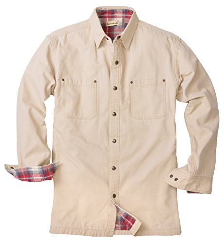 Backpacker Canvas/Flannel Lined Shirt Jacket, Stone, Large (Jacket Shirt Snap Front)