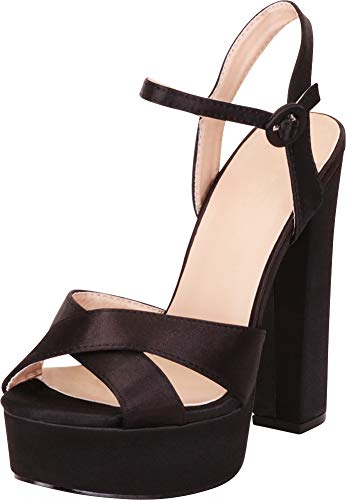 Cambridge Select Women's Peep Toe Crisscross Strappy Chunky Platform Extra High Block Heel Sandal,9 B(M) US,Black Satin