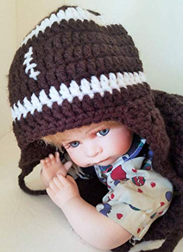 - Newborn Baby Football Cocoon and Matching Hat, Handmade Brown