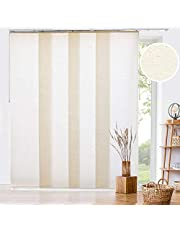 """CHICOLOGY Adjustable Sliding Panel, 4-Rail Track, Perfect Vertical Blinds for Large Windows/Open Spaces/Room Dividers, Trim Up to 80""""W X 96""""H, Country Ivory (Light Filtering)"""