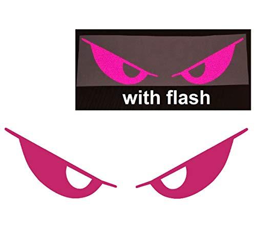 Deep Pink Evil Eyes No Fear Decal Reflective Reflector Devil Demon Sticker 6