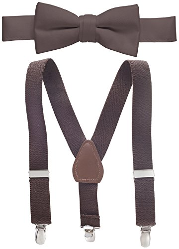 Hold'Em Suspender and Bow Tie Set for Kids, Boys, and Baby - Proudly Made in USA - Extra Sturdy Polished Silver Metal Clips, Pre Tied Bow Tie-Brown 30