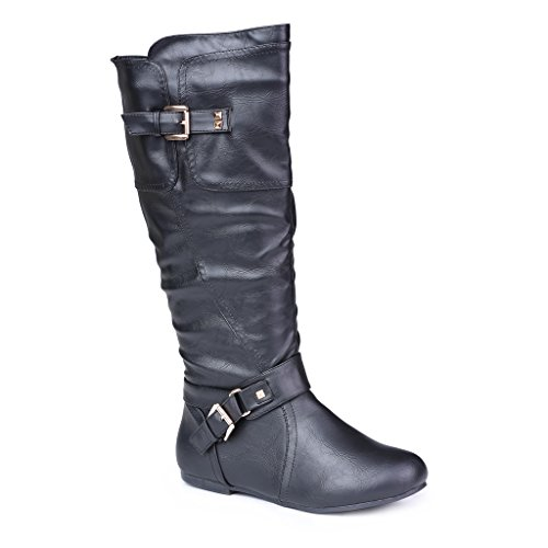 Twisted Women's Shelly Wide Width, Wide Calf Stitched Pannel Tall Boots with Pyramid Studs - BLACK, Size 11