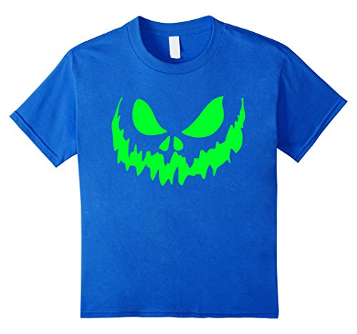 Kids Scary Face Halloween Tshirt | Glow in the Dark Effect Print 6 Royal Blue