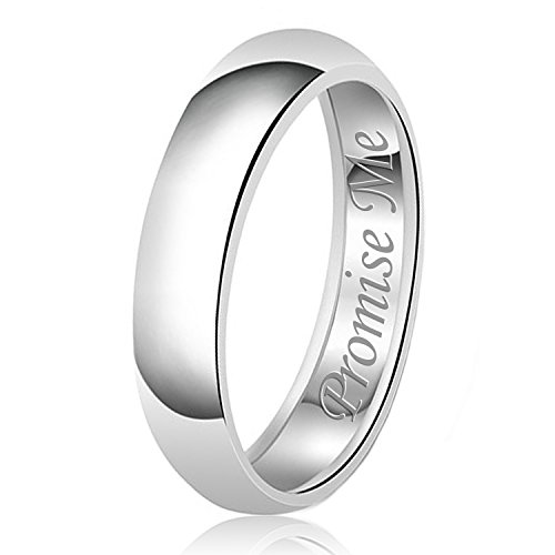 6 Mm Engraved Band - 6mm Promise Me Engraved Classic Sterling Silver Plain Wedding Band Ring, Size 7.5