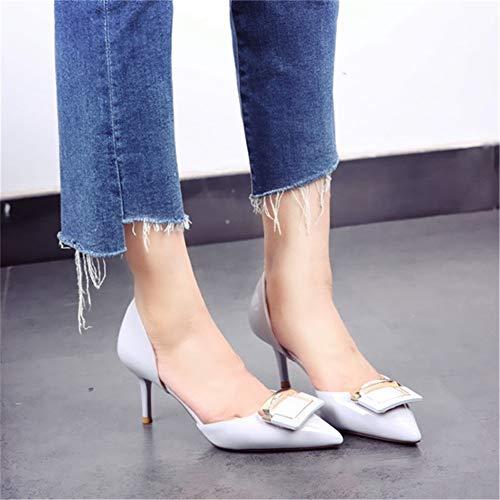 de Banquete YMFIE Tacones de 34 de UE Temperamento Primavera y de Zapatos Trabajo 35 de Banquete Puntiagudo otoño Zapatos de Zapatos EU Aguja ZwZprq