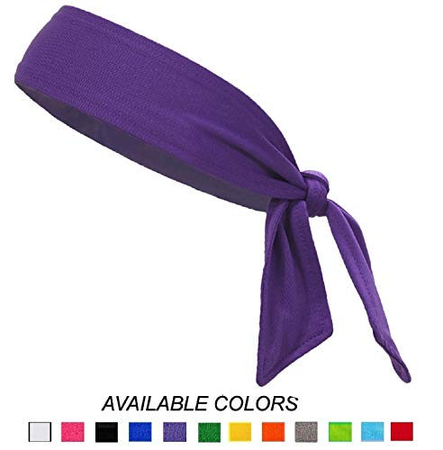 Headbands Tie on Headband for Women Men Running Athletic Hair Head Band Elastic Sports Sweat Basketball Sweatband Stetchy Yoga Workout Sweatbands Adjustable Non-Slip Moisture Wicking (purple)]()
