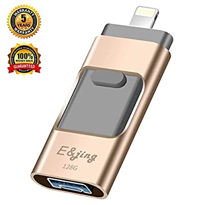 USB Flash Drive for iPhone_ E&jing iPhone Flash Drive 128GB iPhone External Storage USB 3.0 photostick Mobile for iPhone,Android,PC Photo iPhone Picture Stick(Gold) from E&jing