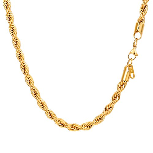 PROSTEEL Rope Necklace 18K Gold Plated Stainless Steel Hip Hop Chain 24'' Women Men Jewelry Gift by PROSTEEL
