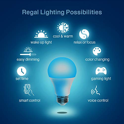 Regal LED A19 Light Bulb 800-Lumen, 9-Watt (60-Watt Equivalent), E26 Base, Non-Dimmable (Color Changing Smart Bulb, Pack of 1 Bulb)