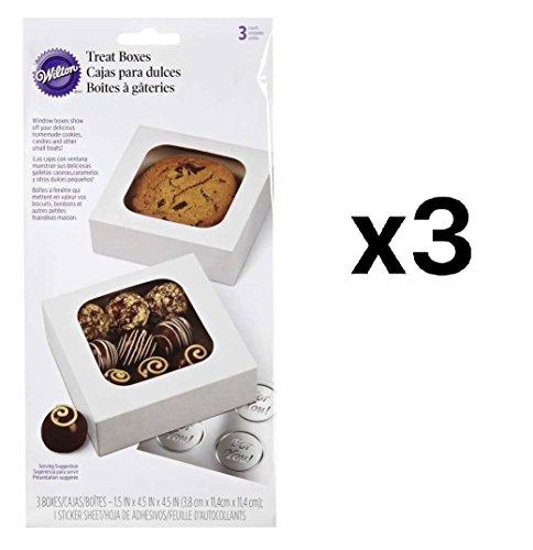 (Bulk Buy: Wilton (3-Pack) Treat Boxes 4.5in. x 4.5in. x 1.5in. 3/Pkg White)