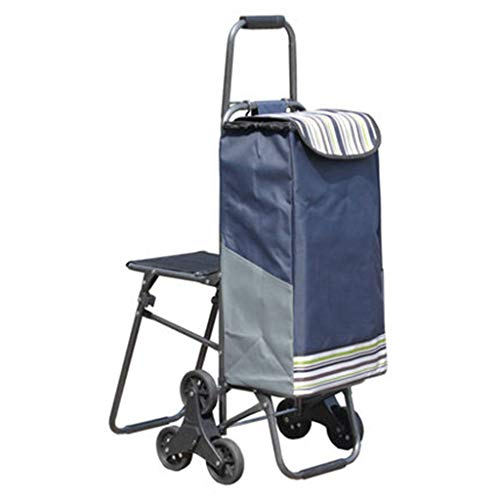 (XINGPING-HOME Climbing Building Trolley Shopping Cart Shopping Cart with Stool Folding Small Trailer Bag Trolley Trolley Car Chair Car (Color :)
