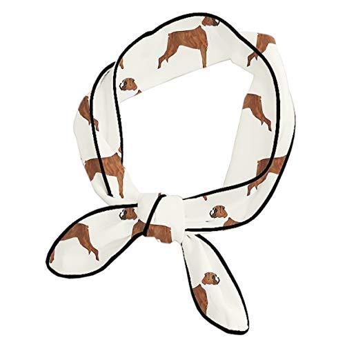 Fashion Head Scarf, Elegant Hair Ribbon, Girl's formal 3D Print Scarves, Boxer Dog Pattern Dog Lover Pet Decor Chiffon Neckerchief, Soft Neck Tie for Sports Yoga Running Hiking - Boxer Necktie