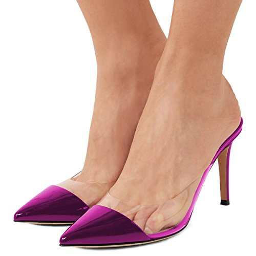 Heels Fashion Slip US Mules Sexy 4 Patent FSJ Women Pointed Clear Purple Shoes Low 15 Size On Toe Sandals Stiletto wBT0zqT5C