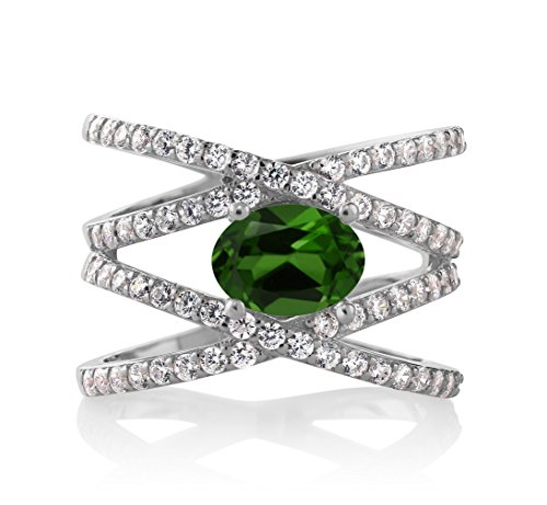 Gem Stone King 2.13 Ct Oval Green Chrome Diopside 925 Sterling Silver Criss Cross Ring (Size 7)